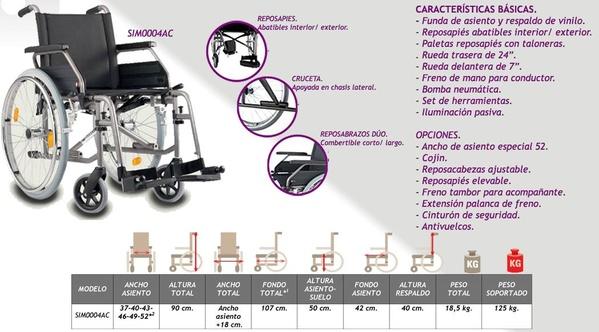 Silla de ruedas barata de acero SIM0004AC