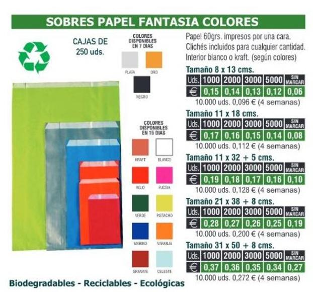 SOBRES PAPEL FANTASIA COLORES 21X38CMS: TIENDA ON LINE de Seriprint