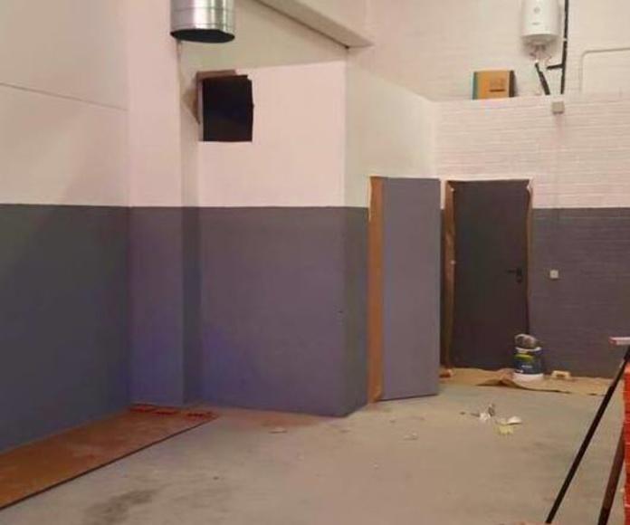 Trabajos de pintura y instalaciones en nave, apertura taller