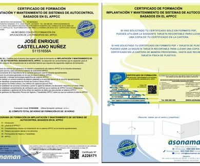 Certificados de formación