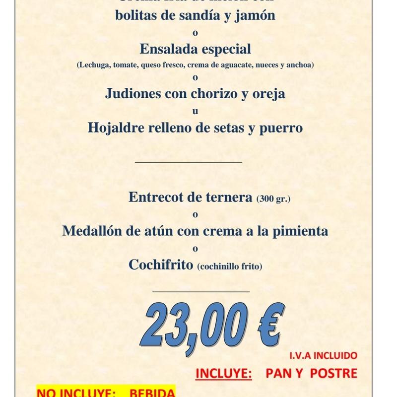 Menú  especial: Carta de La Fanega de Roque - Comedor Solariego