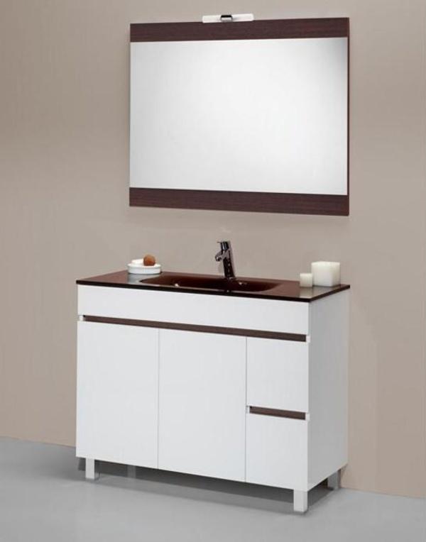 Mueble Sil blanco-wengué de 100 con encimera cristal, espejo y foco