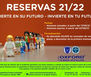 Reserva de plaza curso 2021/2022