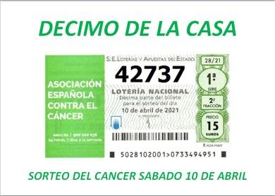 Numero de la Casa para el sorteo extraordinario del Cáncer de lotería nacional para el próximo Sábado 10 de Abril.