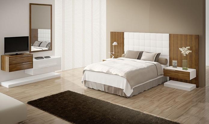 Dormitorio mod 80 Calipso;  cabezal tapizado y nogal americano