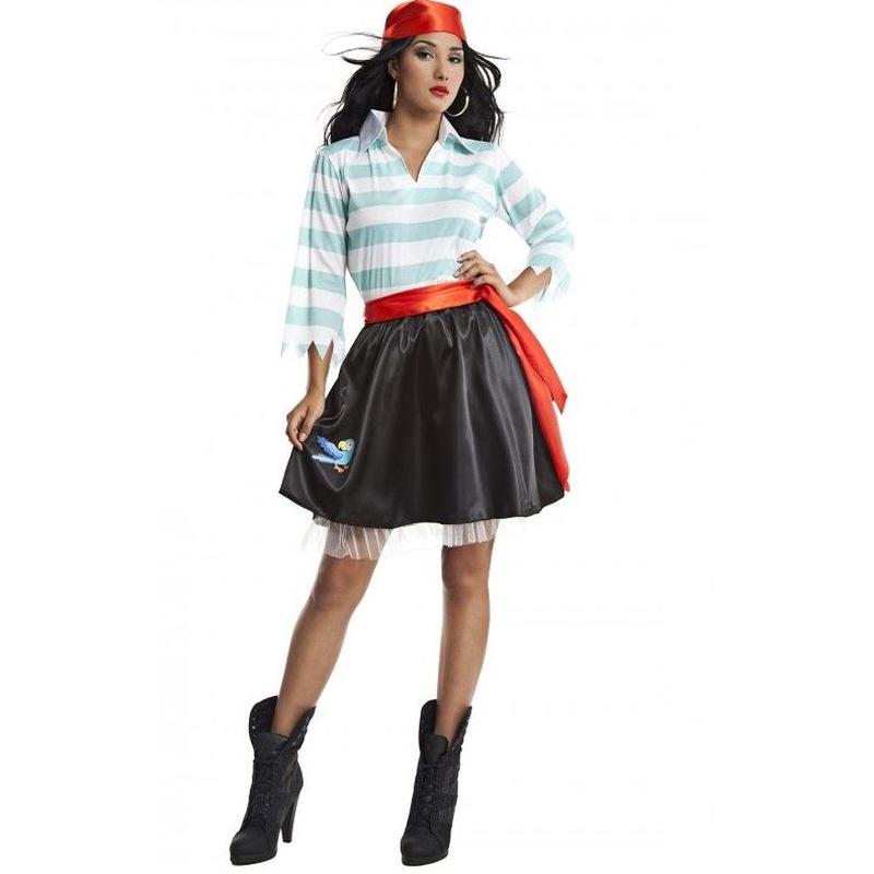 Disfraz pirata rayas azul mujer
