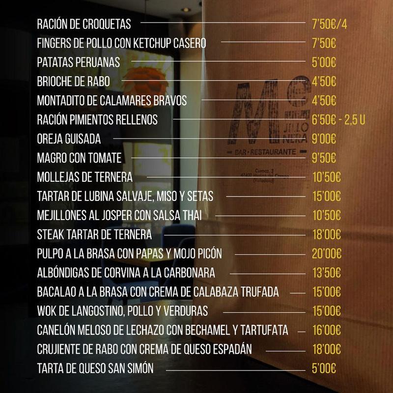 CARTA PARA LLEVAR: Nuestra carta de Bar Restaurante Mejillonera