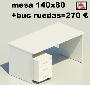 mesa blanca de 140x80+buc ruedas blanco 270€
