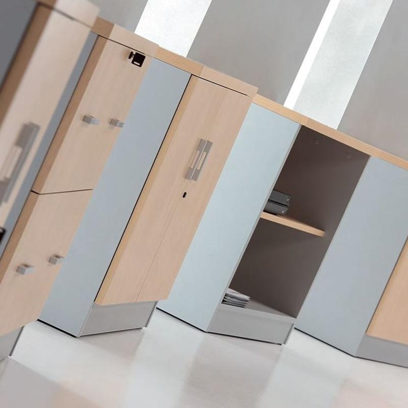 armarios bajos abiuertos con puertas o para carpetas colgantes