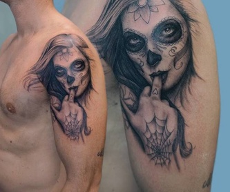 Tatuajes lineales: Tattoo y exposiciones de Soulpeckers Tattoo & Gallery