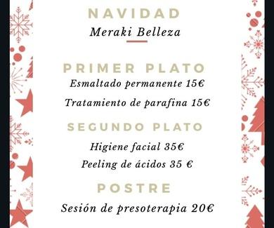 Menú especial de Navidad en Meraki Belleza
