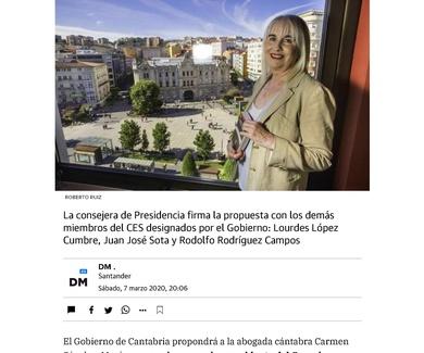Carmen Sánchez Morán presidirá el Consejo Económico y Social  (El Diario Montañés)