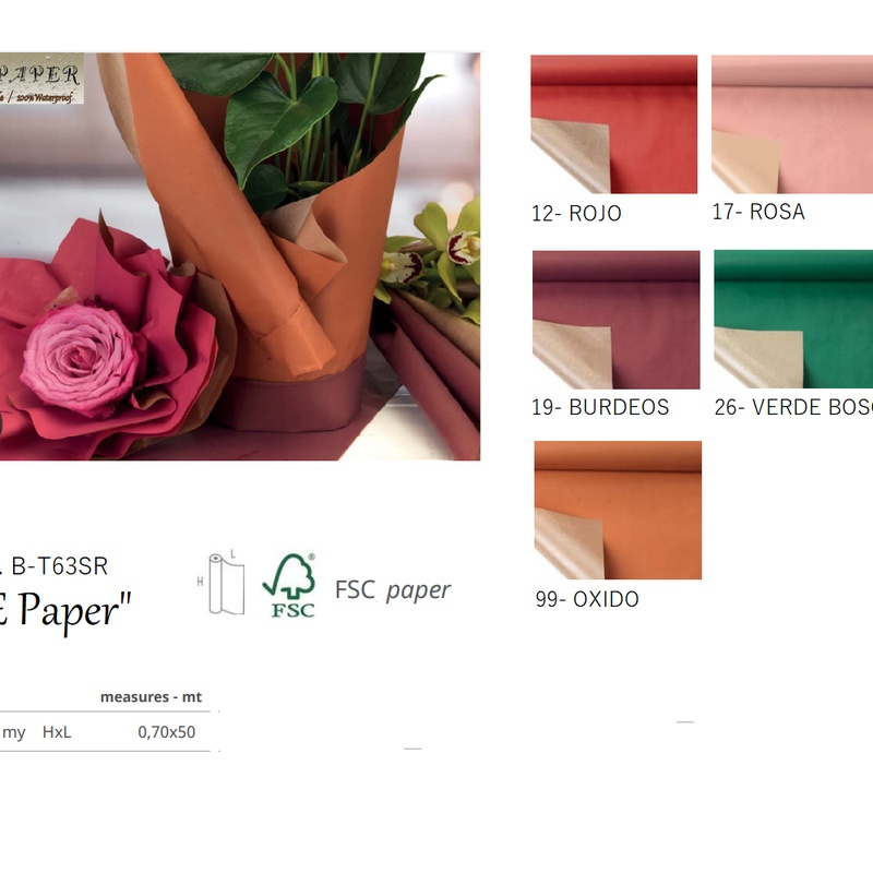 "BOBINA MODELO ""PE Paper"" DE PAPEL KRAFT FSC (0,70 x 50MT) COLORES: 17-ROSA, 12-ROJO, 19-BURDEOS, 26-VERDE BOSQUE, 99-OXIDO REF: B-T63SR+ (COLOR) PRECIO: 14,50€"