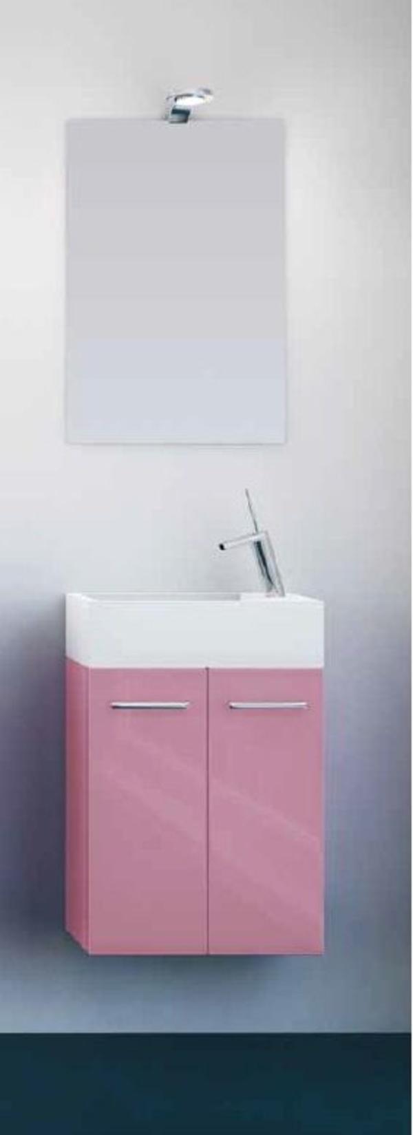 Mueble Pícola C26 de 2 puertas, laca rosa y tirador asa recta
