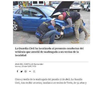 Dos trozos de plástico esclarecen el misterioso atropello de Treto (El Diario Montañés)