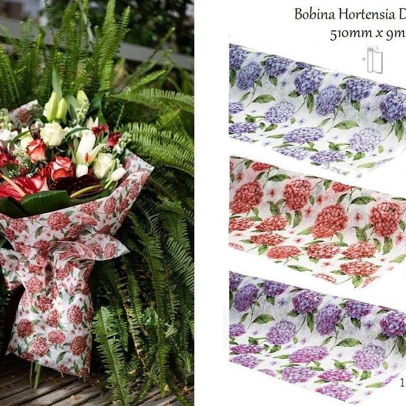 """BOBINA """"Hortensia"""" DECOFIBRA (510mm x 9mt)/ COLORES: 07-ROJO, 10-LILA Y 13- FUXIA REF: 794 +(COLOR) PRECIO: 5,10€/UD"""