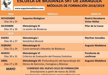 Próximos Módulos Formación Escuela Biodanza SRT de Zaragoza 2018-2019