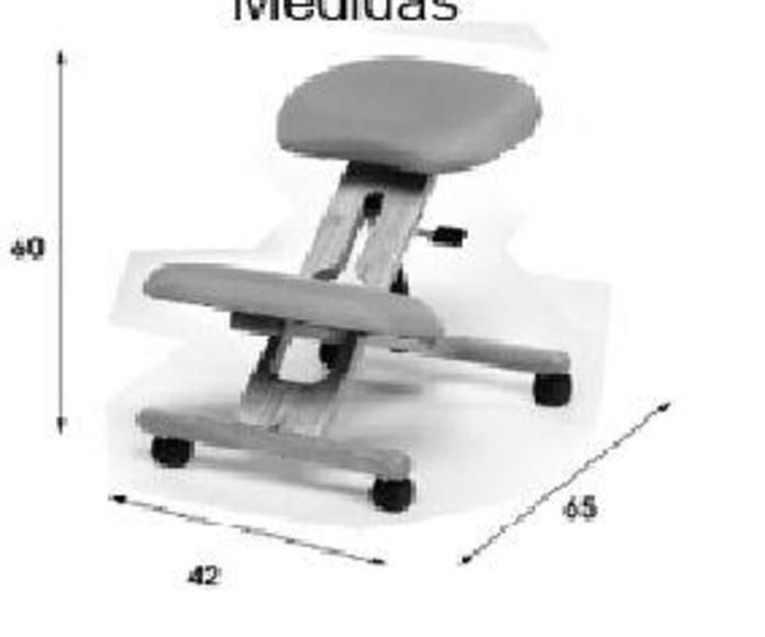 Medidas de silla ergonómica de rodillas modelo flip