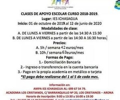 CLASES DE APOYO ESCOLAR 2019/20 INSTITUTO ICHASAGUA
