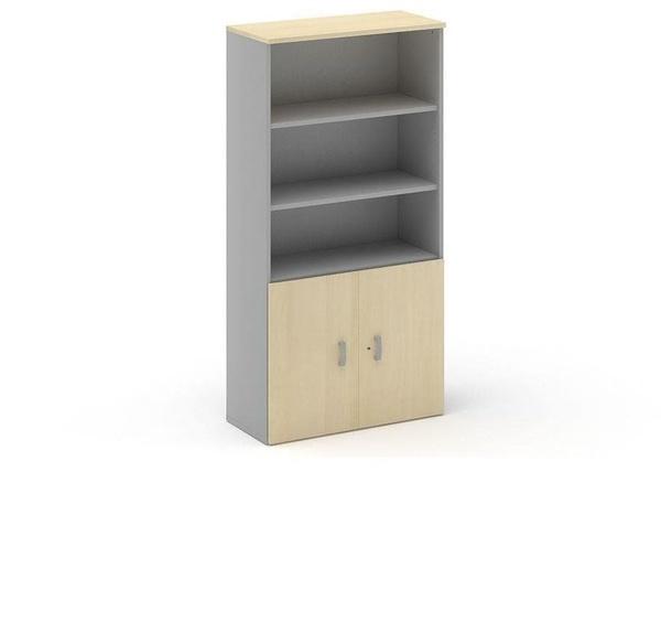 armario alto con puertas bajas y estantes en color haya/aluminio