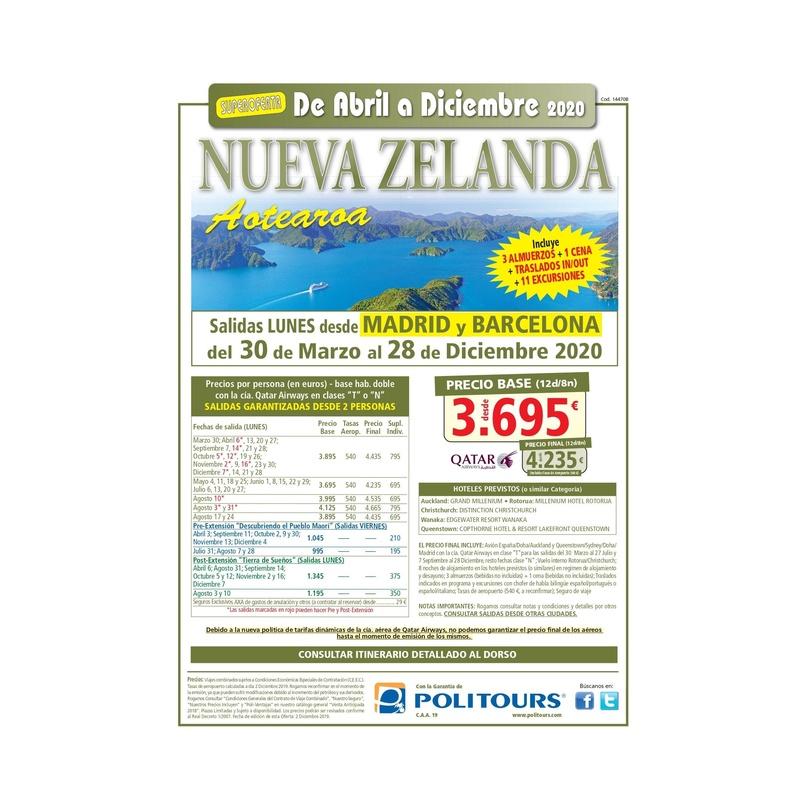 Super oferta a Nueva Zelanda. Abril a Diciembre 2020: Contrata tu viaje de Viajes Iberplaya