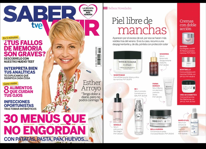 La revista SABER VIVIR recomienda nuestros productos