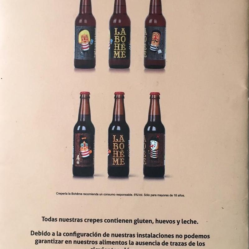 Cerveza artesanal: Carta de Crepería La Bohême