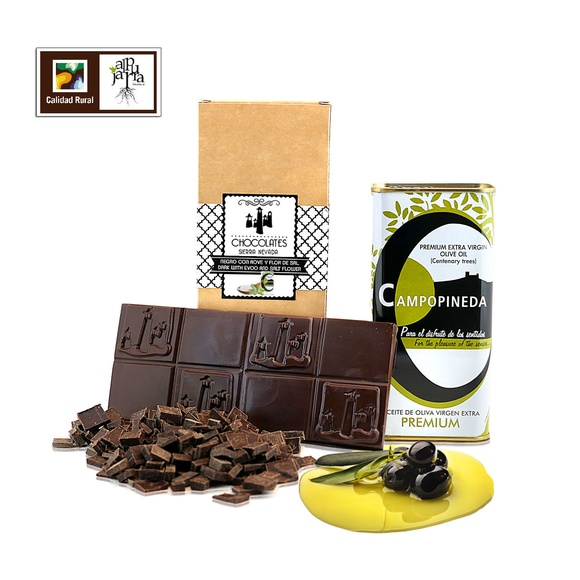 chocolate negro artesano con aceite de oliva y flor de sal