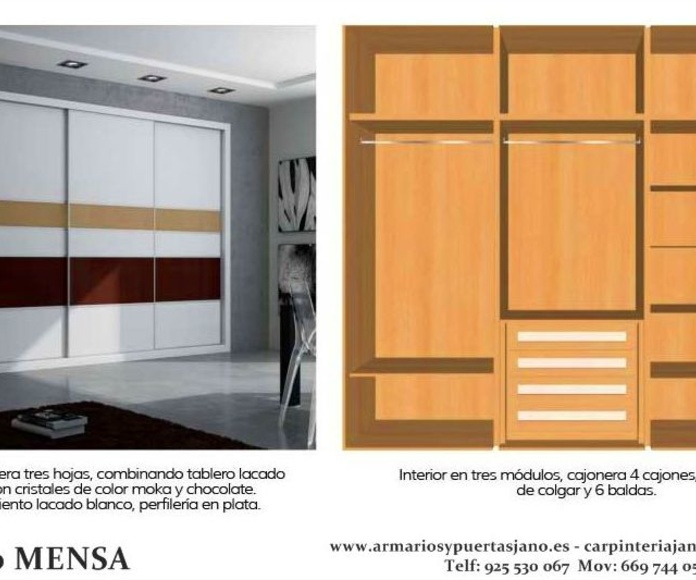 Frente e interior de armario modelo mensa
