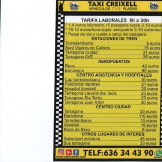 TAXI RATES IN CREIXELL