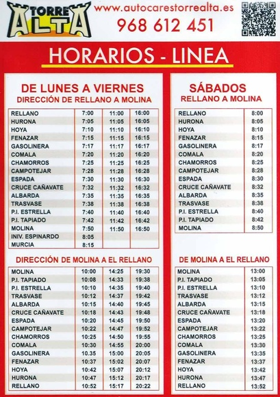 Servicios regulares: Servicios de Autocares Torre Alta