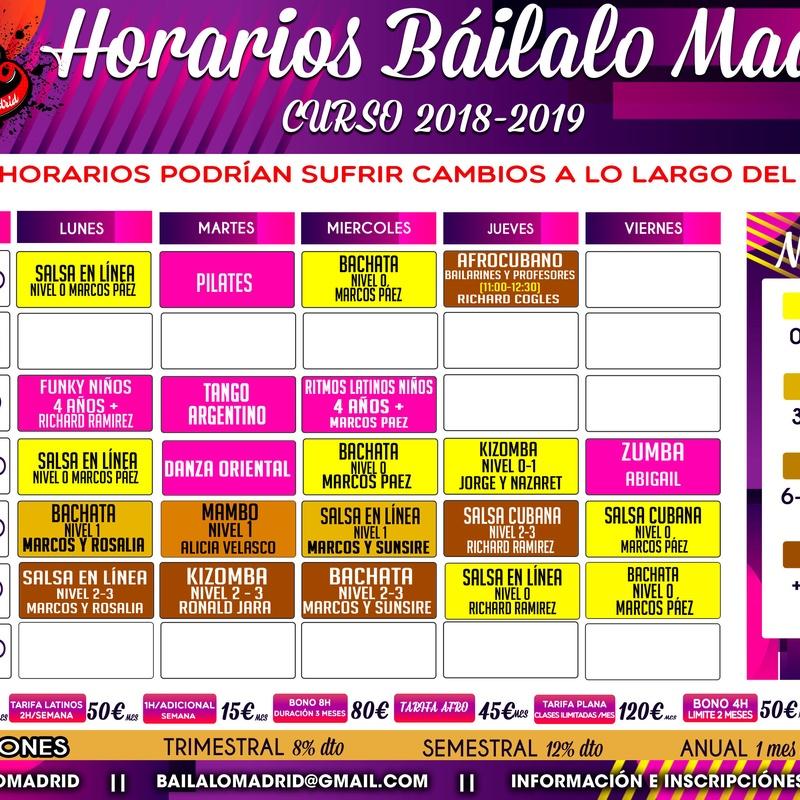 HORARIOS Y TARIFAS ACTUALIZADAS: Clases de Baile de Báilalo Madrid