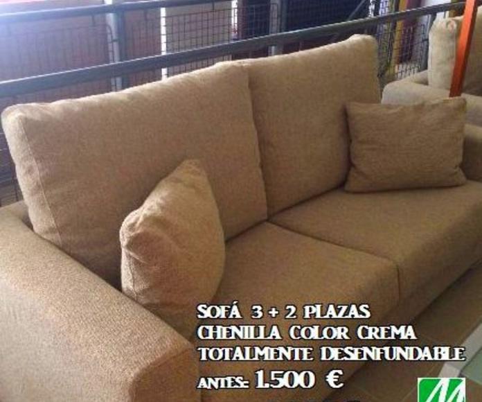 Sofá 3+2 plazas Chenilla color crema (totalmente desenfundable) ANTES: 1.500€ OFERTA: 1.000€