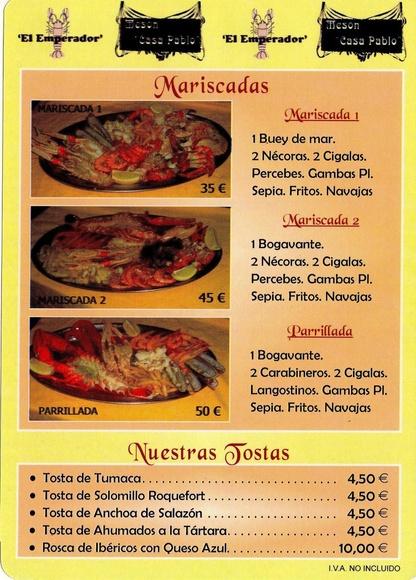 Mariscadas: Carta de Restaurante Marisquería El Emperador