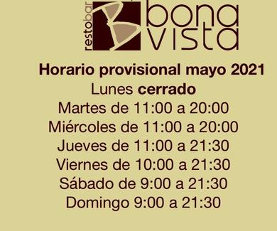 Horario provisional mayo 2021