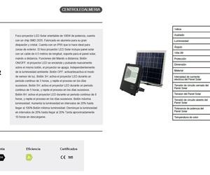 100w proyector led c/ placa solar