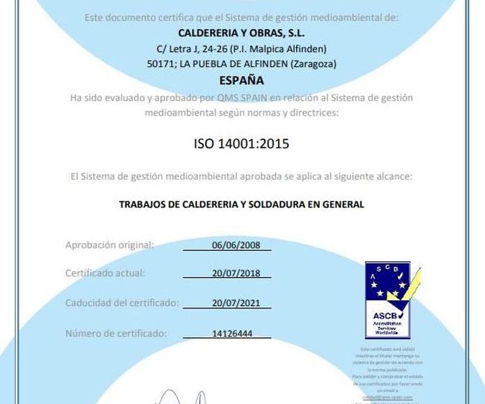 Certificado ISO QMS 14001