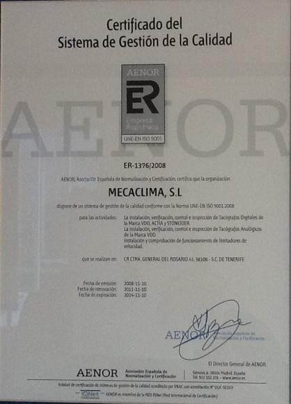 Certificaciones: Productos de Mecaclima