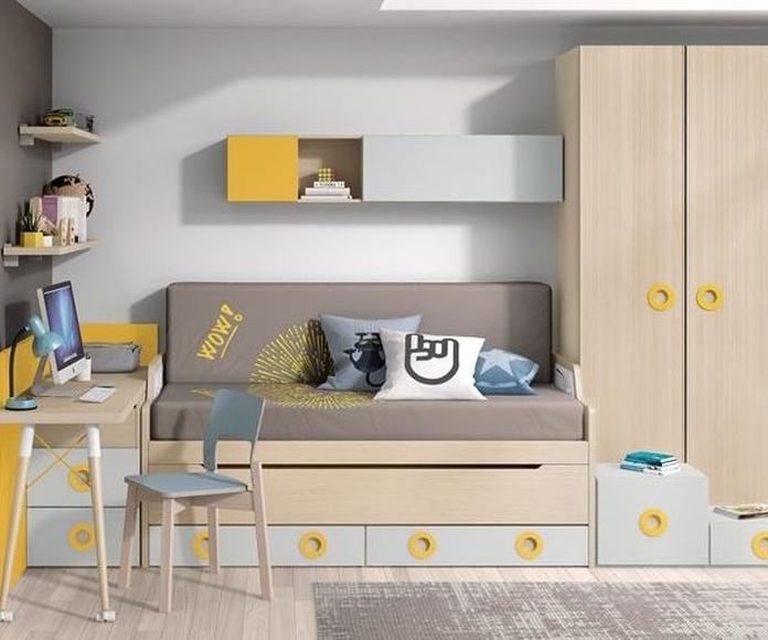 Habitación con cama compacta doble oculta + cajones