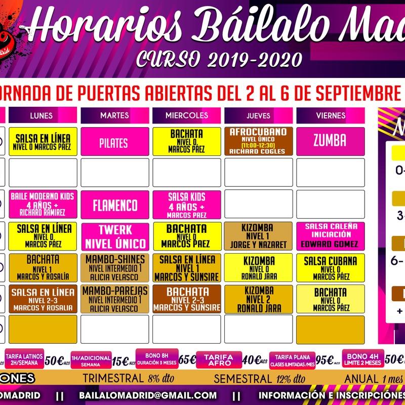 HORARIOS CURSO 2019/2020: Clases de Baile de Báilalo Madrid