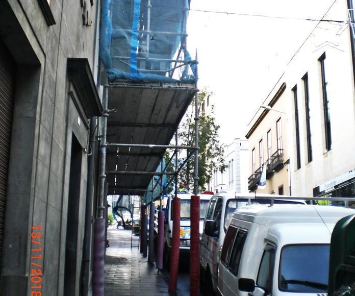 Montaje de andamios en La Orotava