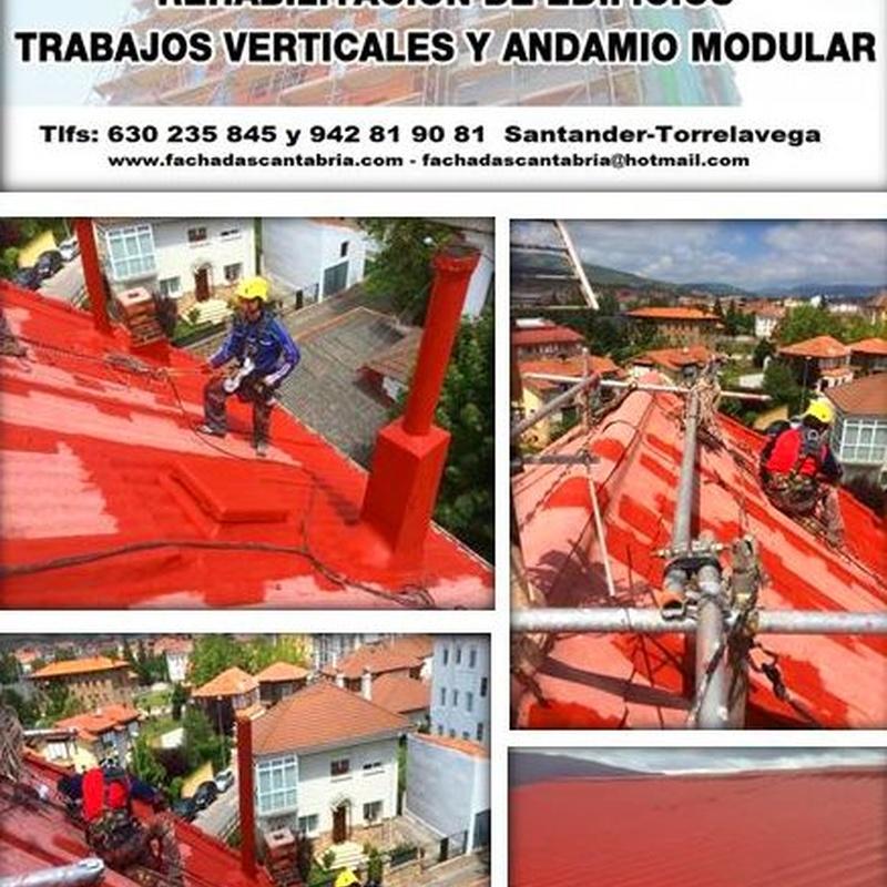 Reparación e impermeabilización de cubierta de uralita trabajos verticales Santander.