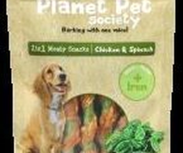 Planet Pet deliciosos snacks de espinacas y pollo bolsa de 70 gr