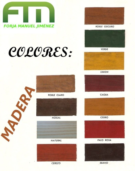 Colores en madera: Catálogo de muebles de forja de Forja Manuel Jiménez