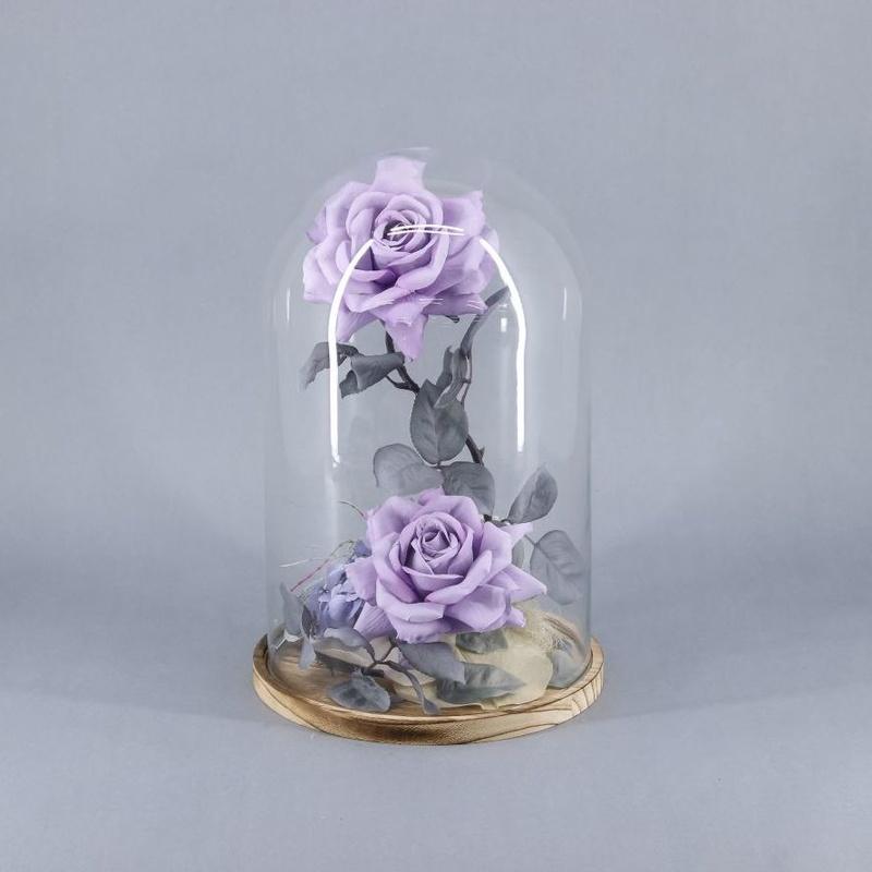 """Cúpula de """"La bella y la bestia"""" 2 rosas"""