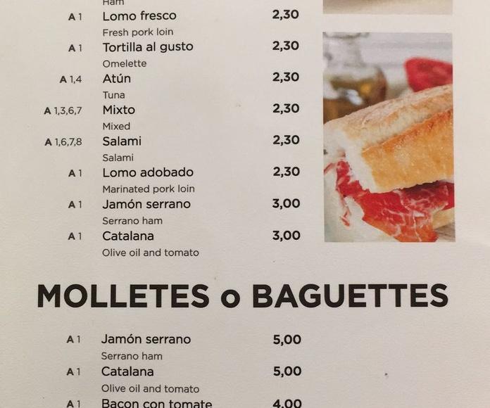 Pitufos, molletes o baguettes: Carta de Pizzería Heladería El Paseo