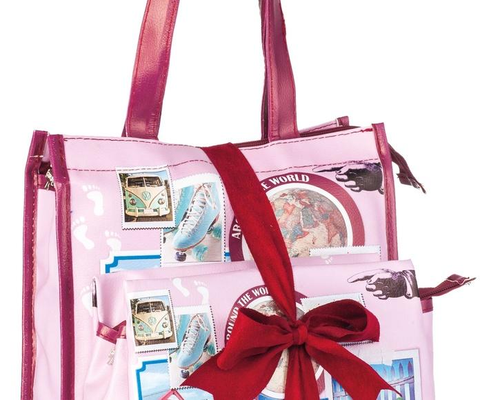 Lote bolsa shopping con neceser rosa