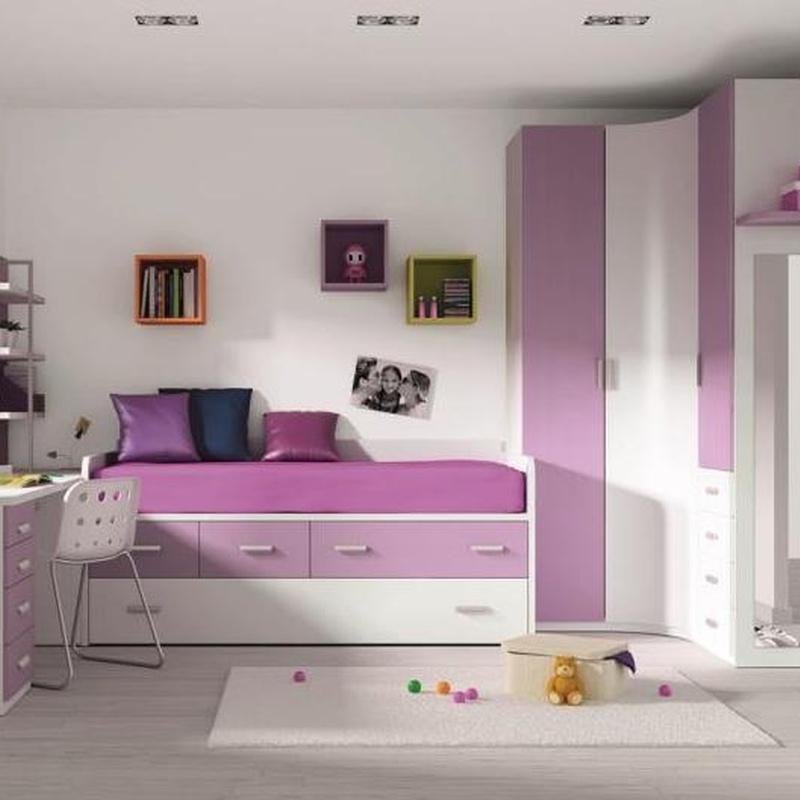 Juvenil en melamina blanca y lila, con armario de rincon y compacto de cama, cajones, cama.