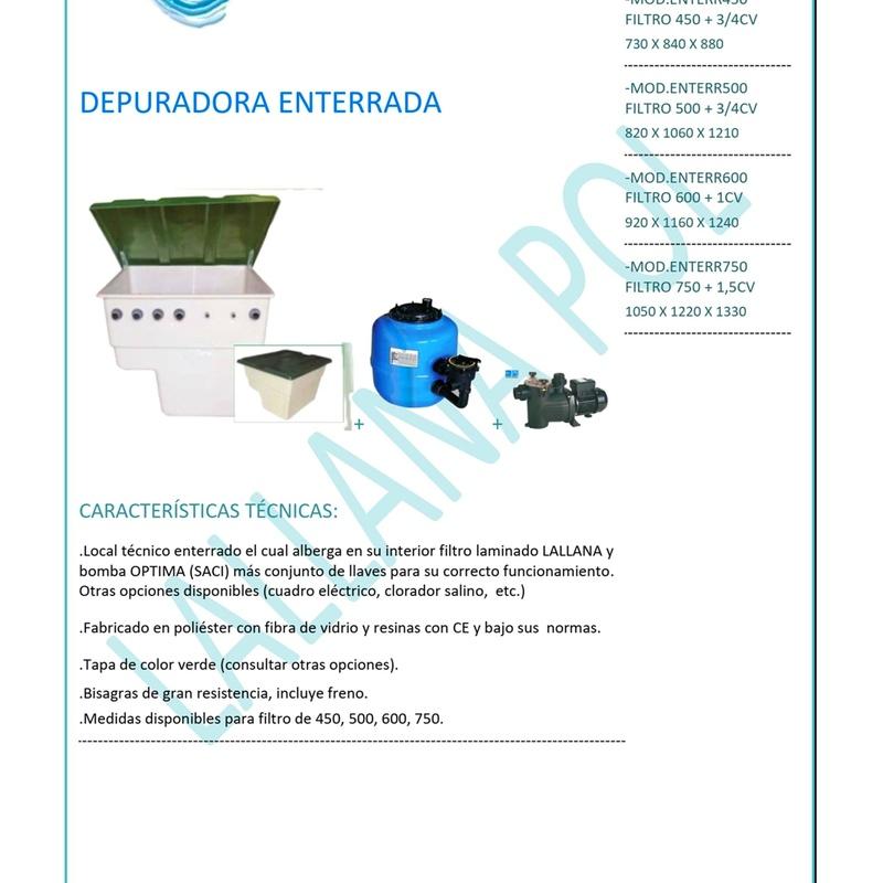 Casetas y Depuradoras para piscinas mod. Enterrada.: Productos y servicios de Lallana Pol
