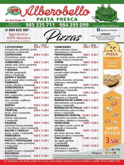 Nuestra carta de pizzas